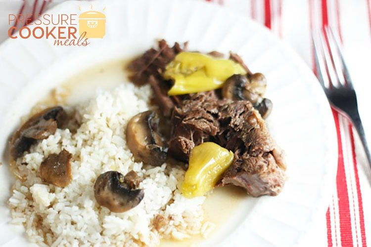 plate of instant pot mississippi pot roast with rice and juices and mushrooms
