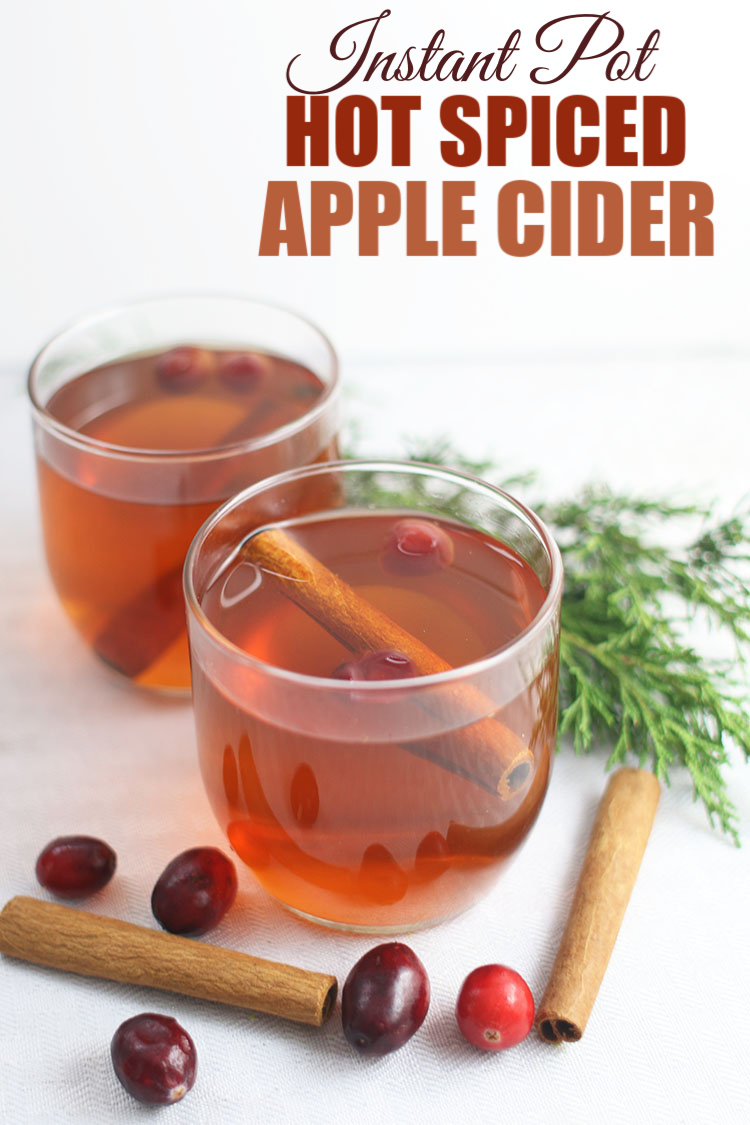 Clear glasses of Instant Pot Hot Spiced Apple Cider with cinnamon sticks and cranberries