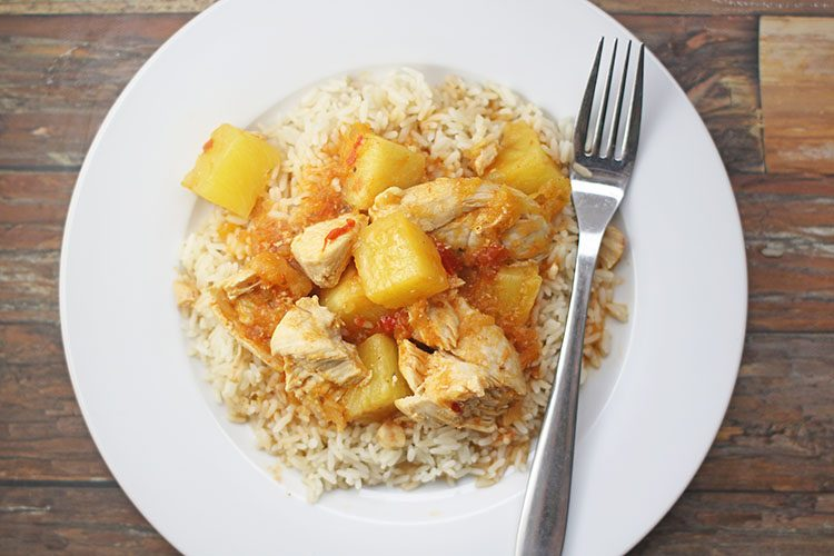 Instant Pot Mango Pineapple Chicken Flatlay